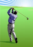 Golf Swing. Golfer hitting a golf ball straight to the green Royalty Free Stock Image