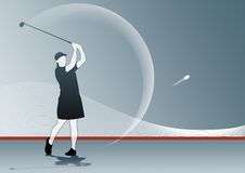 Golf Swing. Illustration of a golf swing, in shades of blue and red Royalty Free Stock Photography