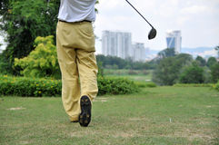 Golf Swing. Follow through with a view Royalty Free Stock Image