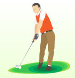 Golf swing frount view - Vector Illustration Royalty Free Stock Photos