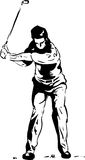 The Golf Swing Pose. One of a series of instructional illustrations Pen and Ink Version Stock Image