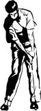 The Golf Swing Pose. One of a series of instructional illustrations Pen and Ink Version Royalty Free Stock Photo