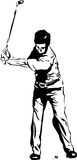 The Golf Swing Pose. One of a series of instructional illustrations Pen and Ink Version Royalty Free Stock Photos