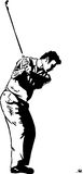 The Golf Swing Pose. One of a series of instructional illustrations Pen and Ink Version Stock Photos