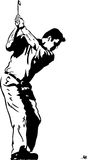 The Golf Swing Pose. One of a series of instructional illustrations Pen and Ink Version Royalty Free Stock Images