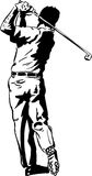 The Golf Swing Pose. One of a series of instructional illustrations Pen and Ink Version Royalty Free Stock Image