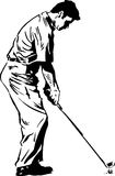 The Golf Swing Pose. One of a series of instructional illustrations Pen and Ink Version Stock Photography