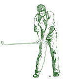 The Golf Swing Pose. One of a series of instructional illustrations Pencil Version Royalty Free Stock Photography