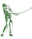 The Golf Swing Pose Stock Photography