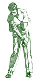 The Golf Swing Pose. One of a series of instructional illustrations Pencil Version Royalty Free Stock Photo