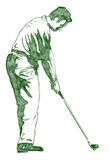 The Golf Swing Pose. One of a series of instructional illustrations Pencil Version Royalty Free Stock Images