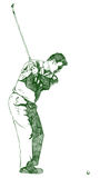 The Golf Swing Pose. One of a series of instructional illustrations Pencil Version Royalty Free Stock Image