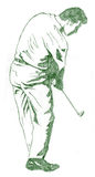 The Golf Swing Pose. One of a series of instructional illustrations Pencil Version Stock Photos