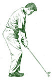 The Golf Swing Pose. One of a series of instructional illustrations Pencil Version Stock Images