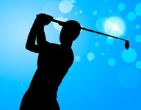 Golf Swing Represents Golfer Exercise And Golf-Club. Golf Course Indicating Golfer Golfing And Exercise Stock Photos