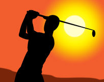 Golf Swing Represents Recreation Golfing And Exercise Royalty Free Stock Image