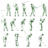 Golf swing stages hand drawn illustration Royalty Free Stock Image