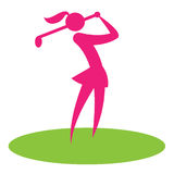 Golf Swing Woman Shows Female Player And Hobby