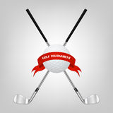 Golf symbols for your design - ball and golf clubs with ribbon. Royalty Free Stock Image