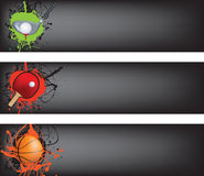 Golf, tabel tennis and basketball black banner Royalty Free Stock Photos