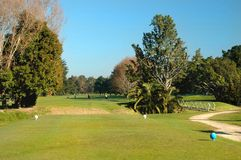 Golf - The Tee Box. Looking from tee box along fairway Stock Image