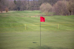 A golf tee flag. A red golf tee flag Stock Images