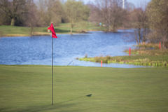 A golf tee flag. A red golf tee flag Royalty Free Stock Image