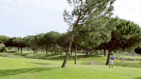 Golf tee shot, in Algarve famous destination, Portugal. Royalty Free Stock Photo