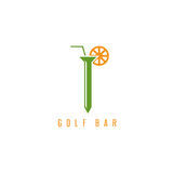 Golf tee with straw and lemon vector design