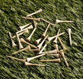 Golf Tees on Grass Royalty Free Stock Images