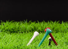 Golf Tees on Grass Background Stock Images