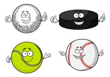 Golf, tennis, baseball balls and hockey puck Stock Photography