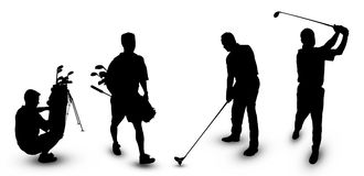 Golf Theme. Silhouettes of Man in White background vector illustration