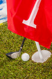 Golf theme on green grass and sky background Stock Photo