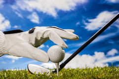 Golf theme with sport stuff Stock Photo