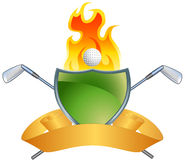 Golf Themed Background - Green Shield. Golf themed background with green shield, banner, and flame Stock Photos