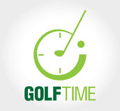 Golf time logo. Elements are labeled and layered for easier color changes Royalty Free Illustration