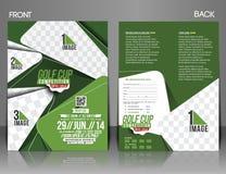 Golf Tournament Flyer. Golf Tournament Front & Back Flyer Template Stock Photo