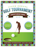 Golf Tournament Flyer Template. A template for a golf tournament scramble invitation flyer. Vector EPS 10 available stock illustration