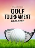 Golf tournament poster template flyer. Golf ball on green grass for competition. Sport club vector design.  vector illustration