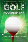 Golf tournament poster template with sample text vector illustration