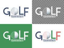Golf Tournament sign with ball on the four different backgrounds. vector illustration