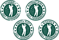 Golf Tournament Stamps. A collection of stamps for four different types of golf tournament games Stock Photography