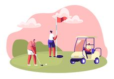 Golf Tournament, Young People Playing Sport Game on Course with Green Grass, Flagstick, Hole, Cart and Professional Equipment
