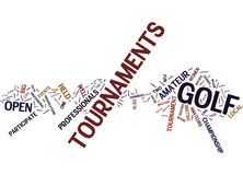 Golf Tournaments Text Background  Word Cloud Concept Stock Photo