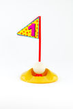 Golf Toys  on white and  hold number one Royalty Free Stock Images