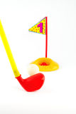 Golf Toys  on white and  hold number one Royalty Free Stock Photos