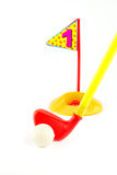 Golf Toys  on white and  hold number one Stock Photography