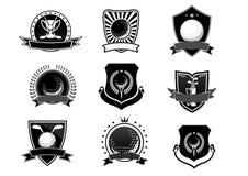 Golf trägt Emblem- und Symbolsatz zur Schau lizenzfreie abbildung