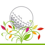 Golf and trailing plant. Golf ball and trailing plant Stock Photo